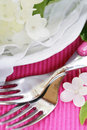 Place setting with hydrangea flower Stock Photo