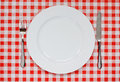 Place setting on red gingham tablecoth empty plate with plate knife and fork background popular symbol for diners and cafes Royalty Free Stock Image