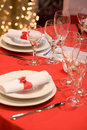 Place setting with red heart Stock Photo