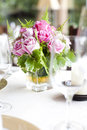 Place setting on a table at a wedding reception with detail Stock Images