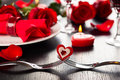 Place setting for valentine s day festive Royalty Free Stock Images
