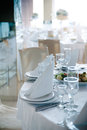 Place settings at wedding detailed setting reception in calm blue tone cast Stock Photography
