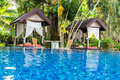 Place for Thai massage at beautiful swimming pool Royalty Free Stock Photo
