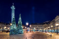 Place Vendome at night, Paris, France.