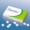 Placebo pills tablets named it s a medical fake product which alludes to the danger of false medication vector illustration Royalty Free Stock Image
