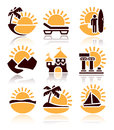Places interest icons set over white background Royalty Free Stock Photography