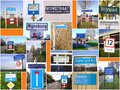 Places named after river rhine collage of various signs of the in the netherlands Royalty Free Stock Photos