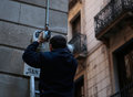 Placing security cameras on a main avenue in Barcelona