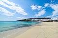 Plage de paradis dans Mykonos Image libre de droits