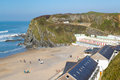 Plage newquay les cornouailles de tolcarne Photo libre de droits