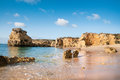 Plages d or d albufeira portugal Image stock