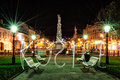 Plague column in Kosice, Slovakia, night scene, writing with lig Royalty Free Stock Photo