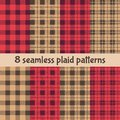 Plaid and Buffalo Check Patterns. Red, Black, Beige Plaid, Tartan and Gingham Patterns Royalty Free Stock Photo