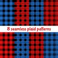 Plaid and Buffalo Check Patterns. Red, Black, Beige Plaid, Tartan and Gingham Patterns