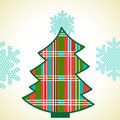 Plaid christmas tree funky pretty geometric pattern colors diamond pattern snowflake topper each square is individual so recolor Royalty Free Stock Image
