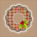 Plaid christmas wreath white frill with holly and berries Stock Images