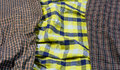 Plaid fabric close up old three color tone textile pattern detail Stock Photography