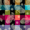 Plaid and paisley pattern seamless background Stock Image