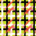Plaid pattern with brushstrokes and stripes vector seamless bold in bright variety of colors can be used for print wallpaper fall Stock Photography