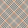 Plaid pattern. Seamless diagonal tartan glen check plaid texture in grey and beige.