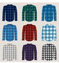 Plaid Patterned Shirts for Men Vector Set Royalty Free Stock Photo