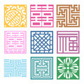 Plaid symbol sets geometric pattern design korean traditional is a Royalty Free Stock Image