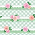 Plaid textile seamless pattern background, decorated with lace and roses. Girly. Vector Royalty Free Stock Photo