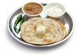 Plain paratha with curry and yogurt indian food multi layered indian flat bread Stock Photo