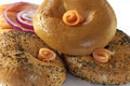 Plain and poppy seed smoked salmon bagels Stock Photos