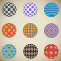 Plain retro colored spheres color patterned sphere design elements Royalty Free Stock Photos