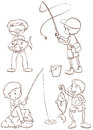 Plain sketches of the boys fishing Royalty Free Stock Photo