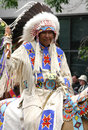 Plains Indian chief on horseback Stock Photography