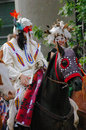 Plains indian on horseback calgary stampede parade calgary alberta Stock Image