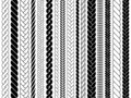 Plaits and braids pattern brushes. Knitting, braided ropes vector isolated collection Royalty Free Stock Photo