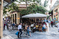 Plaka neighbourhood athens greece with its shops and stores Stock Photos