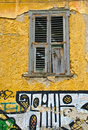 Plaka Window, with Graphitti, Athens Stock Photo