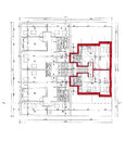 Plan of the architect on white bakcground, scanned Royalty Free Stock Photos