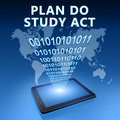 Plan do study act illustration with tablet computer on blue background Royalty Free Stock Photography