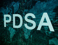 Plan do study act pdsa text concept on green digital world map background Stock Image