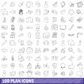 100 plan icons set, outline style