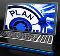 Plan on laptop showing careful planning and organizing Stock Images