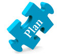 Plan puzzle shows objectives planning and organizing showing Royalty Free Stock Photo