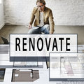 Plan renovate architecture blueprint drawing concept Royalty Free Stock Images