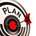 Plan Target Shows Planning, Missions And Goals Stock Photos