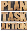 Plan, task, action word in woot type Royalty Free Stock Photos