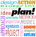 Plan word background idea strategy method scheme the and related terms in a of text such as blueprint design action initiative Royalty Free Stock Photography