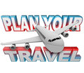 Plan your travel itinerary words airplane background the in the with a white jet flying above it reminding you to do planning and Stock Photography