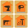 Planch icons with house and tools set repair Stock Photo