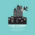 Plane Accident With Skyscrapers Royalty Free Stock Photo