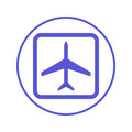 Plane, airplane circular line icon. Round sign. Flat style vector symbol